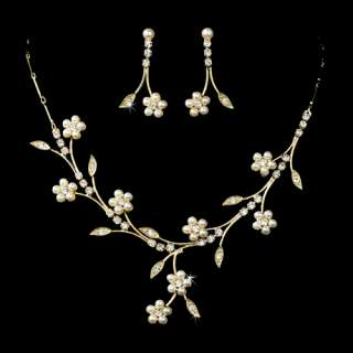 Bridal Wedding Jewelry Set Floral Vine Pearl Rhinestone