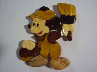 Hand Carved Wood Art Intarsia Mickey Mouse paint Wood sign Wall Plaque