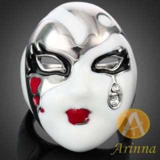 ARINNA classic girl mask Cocktail Fashion Ring 18K WGP Swarovski clear