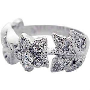 Sterling Silver Pave Simulated Diamond CZ Flower Ring Jewelry