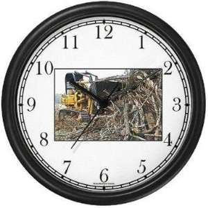 Bull Dozer Pushing Tree Debris (JP6) Wall Clock by