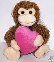 Russ Shining Stars Plush Valentine Monkey Pink Heart