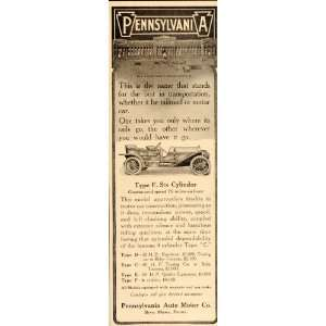 1909 Ad Pennsylvania Type F Six Cylinder Antique Car   Original Print