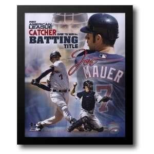 Joe Mauer   2006 AL Catcher Batting Title / Port. Plus 12x14 Framed