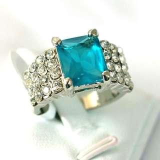 r7709 Size 9 14K White GP Lady Blue Tanzania Diamante CZ Ring Fashion