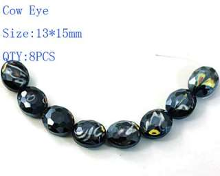 Wholesale 13*15mm 8pcs Black Glass Crystal Loose Beads Cow Eye Fashion