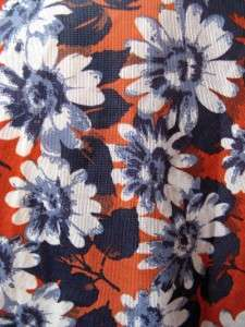 Blue Daisies Floral Shirt Blouse S Hippie Flower Child Nylon