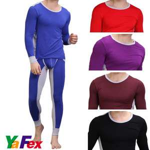 NEW MENS SEXY Pants + T shirt Thermal Underwear Set 5 colors Size S M