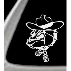 USMC TOP GUN DOG 4.5 White Vinyl STICKER/DECAL