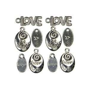 Cousin Jewelry Basics 10 Piece Metal Charm Love/Heart