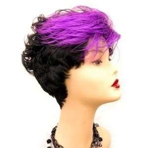 Short Cut Wig Two Tone Color Off Black & Purple Beauty