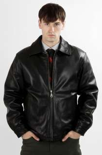 United Face Mens New Classic Black Lambskin Leather Jacket Size S M L