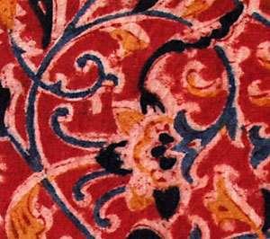 Kalamkari, Hand Block Print, Cotton Fabric. 2½ Yards