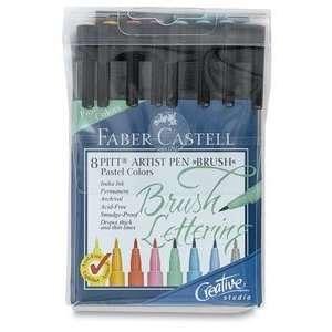 Faber Castell 8 Pitt Artist Pen Brush Pastel colors 16 17