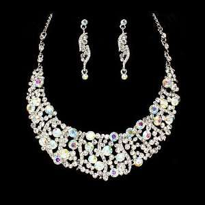 Bridal Wedding Jewelry Set Necklace Crystal Rhinestone Bib