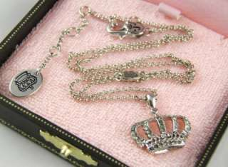 Auth Juicy Couture Wish   Silver Crown Necklace