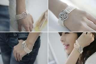 Rhinestone Crystal Rose Pearl Four Strand Bracelet