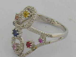 9ct White Gold Natural Diamond & Rainbow Sapphire Ring