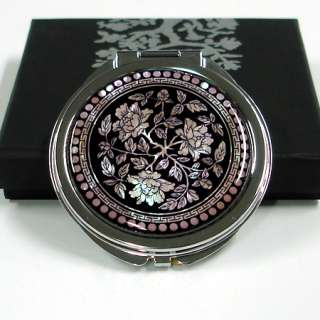 Mother of Pearl Metal Round Double Compact Cosmetic Makeup Pocket Hand