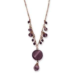 Rose tone Dark Red Crystal Drop 16in Necklace/Mixed Metal