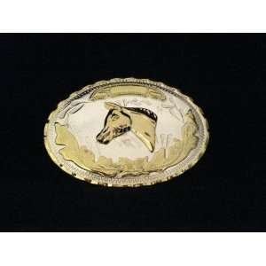 Ranch Cowboy Gold and Silver Finishing Belt Buckle Everything Else