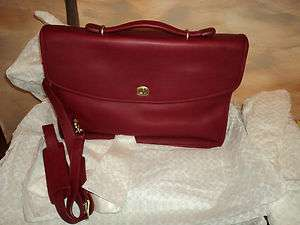 Coach Vintage Retro Red Leather Briefcase NEW!