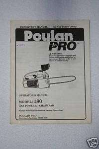 POULAN PRO GAS POWERED CHAIN SAW OPERATORS MANUAL