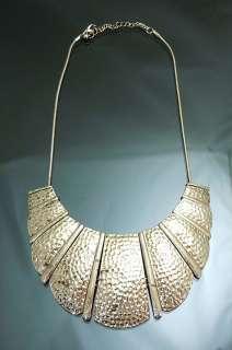 Vintage Darken Gold GP Gladiator Bib Necklace Hammered Metal Unique