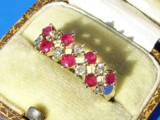 9ct GOLD NATURAL RUBY & CHAMPAGNE DIAMOND ETERNITY RING
