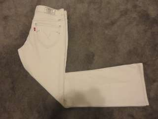 LEVIS Night Blues Low Rise Boot Cut Stretch White Jeans sz 5