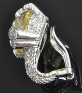 Judith Ripka 18K White Gold Canary Crystal Diamond Omega Clip On