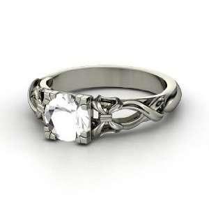 Ribbon Ring, Round Rock Crystal 14K White Gold Ring