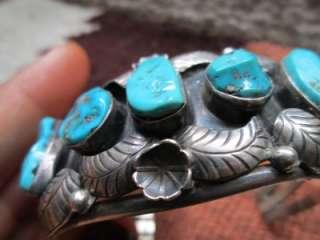 VTG Pawn Navajo Real Gorgeous BIG Turquoise Sterling Silver Bracelet