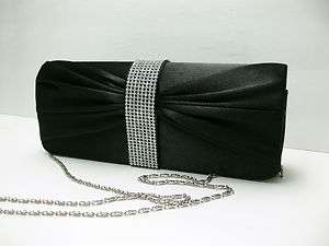 New Black Pleated Satin Rhinestone studded Wedding/Evening Clutch