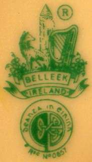 BELLEEK Irish Pottery HEART PLATE green mark 6 1/2