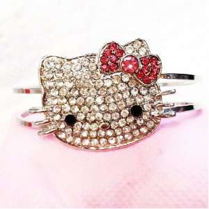 DIY Jewelry Making 1x Hello Kitty Bangle with Rhinestones Bracelet