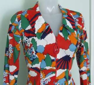 Vintage 60s 70s Psychedelic Hippie Boho Mini Dress ~ Small