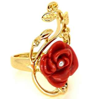 Disney Couture Snow White Gold & Red Rose Ring