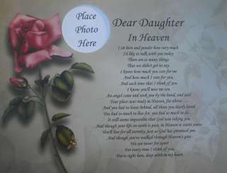 DEAR DAUGHTER IN HEAVEN POEM MEMORIAL VERSE IN LOVING MEMORY GIFT