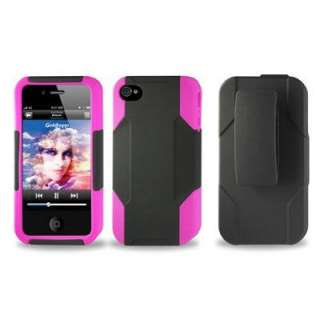 Reiko Hybrid Case kick stand for iPhone 4 4S Black/Pink Silicone Case