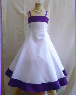 DK5 NEW PURPLE PAGEANT BRIDESMAID FLOWER GIRL DRESS