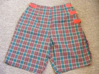 60s THERMO JACS KILT SHORTS by Grove Red/Green Plaid Leather Buckles