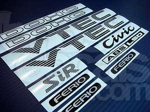92 95 JDM CIVIC FERIO EF8 EF9 SiR DOHC VTEC DECAL SET *BLACK*