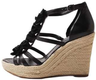 Vince Camuto Black Nappa Leather Dominic Jute Platform Wedge Heels