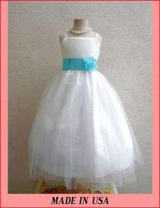 2012 RB2 FLOWER GIRL IVORY AQUA/POOL BLUE SIZE S M L XL 2 4 6 8 10 12