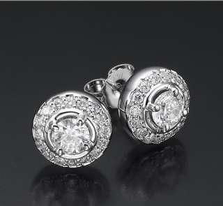 14k white gold round diamond earrings stud side stones
