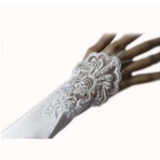 12 White Fingerless Bridal Wedding Dress Satin Gloves