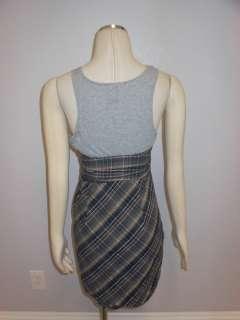People Anthropologie Blue Grey Check Plaid Versatile Lovely Sun Dress