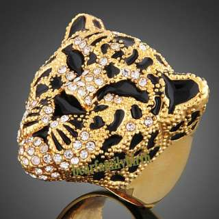 18K yellow GOLD GP Swarovski crystal tiger head animal ring R14