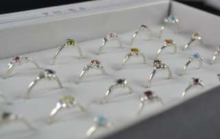 20 PCS SILVER PLATED MULTI COLOR RHINESTONE FASHION RINGS R13